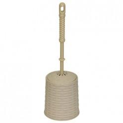 Набор для WC (ерш+подставка) круглый с декором Ротанг (латте) 122020 Виолет