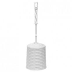 Набор для WC (ерш+подставка) круглый с декором Ротанг (белый) 122006 Виолет