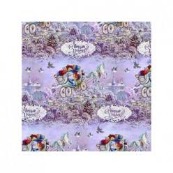 Бумага упаковочная Новогодняя колесница в рулонах, мелованная с одной стороны, 100*70см, арт.75183