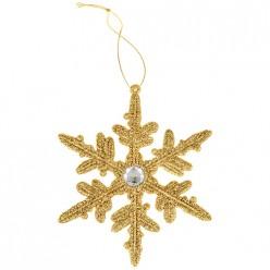 Декоративная подвеска Снежинка коллекция red&goldдиаметр=14 см 858-157