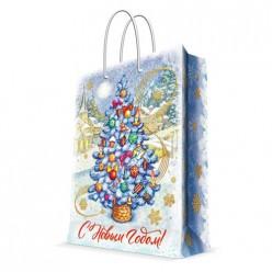 Бумажный пакет Голубая ель, с ламинацией, ширина основания 26 см, 140 г/м2, 26х32,4х12,7см 82396