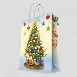 Бумажный пакет Лошадка под елочкой,с ламинацией, ширина основ 26см, 140 г/м2, 26х32,4х12,7см 79596