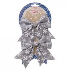 Новогоднее украшение БАНТ Снежинки в серебре из полиэстера, набор из 2 шт. / 11x13см арт.82330