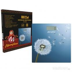 Весы напольные электронные МАТРЕНА МА-090 одуванчик (стеклянная поверхность, 180 кг) арт.007836