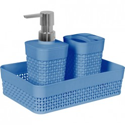 Набор для ванной комнаты OSLO Mini 3 предмета туманно-голубой РТ1338