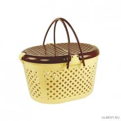 Корзина для пикника (460х390х263) (бежево-коричневый) (уп.5) М1132