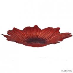 Блюдо большое маки 30 см (пищево стекло, 3 вида красок( черный, красный, оранжевый),арт16497