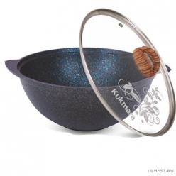 АП Казан для плова 3,5л со стекл. крышкой, линия Granit ultra (blue) Kukmara  кгг37а