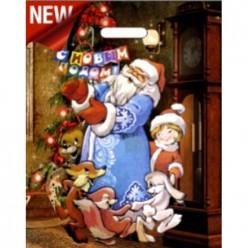 Пакет с вырубной ручкой 38х47+6 (60) Интерпак НГ ламинация (Новогодний хоровод) ВУР38316