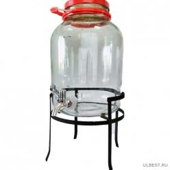 Банка стеклянная 5л Винт (краник и подставка в комплекте) Каменские