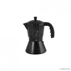 Кофеварка гейзерная 600мл (12 порций) из алюминия с широким индукционным дном (2514MR)