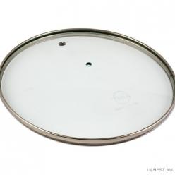 Крышка без ручки стеклянная с метал/обод 28 см низ. арт.4628н