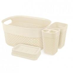Набор для ванной комнаты OSLO Optima 4 предмета молочный PT1337 ПЛАСТ-ТИМ