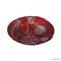 Блюдо новогодние шары 30 см красное () арт.17124/R