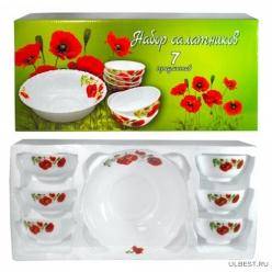 Набор салатников Маки 7 пр.: 11,5 см 6 шт., 20 см 1 шт., в подарочной упаковке арт.MFK08293