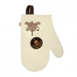 Рукавица белая с вышитым логотипом Банные штучки, войлок 100%/20 41419