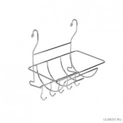 Полка на рейлинг для полотенец с крючками, хром арт.MX-401