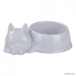 """Миска для кошек """"Барсик"""" 0,5л (серый) (уп.25) М6939"""