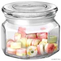 Стеклянная банка для сыпучих продуктов со стекл плоской крышкой, ARIA, объем: 0,3 л, тм Mallony арт.