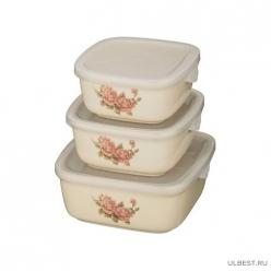 """Набор блюд для заливного из 3 шт. """"корейская роза"""" 750/400/350 мл. 388-209"""