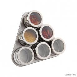 Набор для специй 7 пр.на магнитах+метал.подставка 20*22*5 см. 912-002
