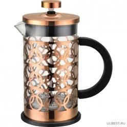 Чайник/кофейник (кофе-пресс) стеклянный в корп из нерж ст,350 мл, BRONZO, тм Mallony арт.950153