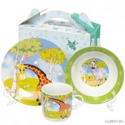 Ф Набор детский 3пр Жираф (тарелка 18см, салатник 15см, кружка 230мл) под/уп 7237#