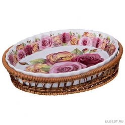 Блюдо овальное для запекания на подставке 28*24 см.высота=4,5 см. 792-009