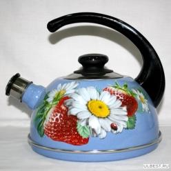 Чайник 2,5л (конс.ручка)-синий туман/клубника с ромашкой(декор- нерж.сталь) Т04/25/08/05