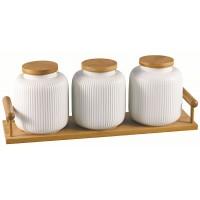 Набор банок для хранения JEWEL Фиона 3 предмета на подставке (фарфор)