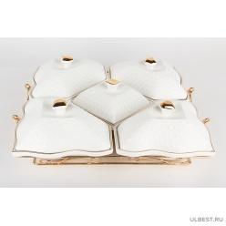 Менажница Коралл 5 секций на метал подставке Снежная королева