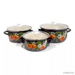 Набор эмалированной посуды КМК Абрикос-Экстра (кастрюля 2+3+4 л) 6 предметов