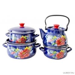Набор эмалированной посуды из 4 предметов Апрель (2л, 3л, 4л, чайник 3л) КМК