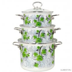 Набор эмалированной посуды КМК Атлас-5-1 Элит (кастрюля 1.9+2.5+5 л)