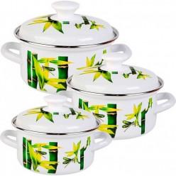 Набор эмалированной посуды КМК Бамбук-1 (кастрюля 1+1.5+2 л)