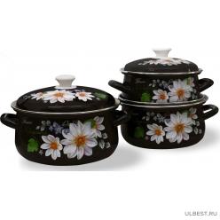 Набор эмалированной посуды КМК Белые георгины-1 (кастрюля 1+1.5+2 л)