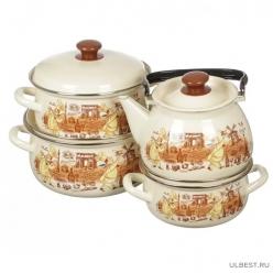 Набор эмалированной посуды КМК Мастер шеф (кастрюля 2+3+4 л, чайник 3л)