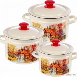 Набор эмалированной посуды из 3 предметов Старая мельница-1 (2л, 3л, 4л) КМК