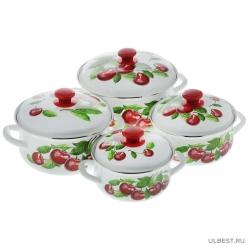 Набор эмалированной посуды КМК Вишневый сад-1 (1.5+2+3+4л)