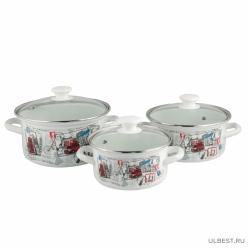 Набор эмалированной посуды из 3 предметов Вояж-Экстра (кастрюля 1.5+2.3+3 л) КМК