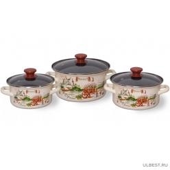 Набор эмалированной посуды КМК Травы Прованса-1 Экстра (кастрюля 1.5+2.3+3л)