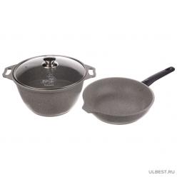 Набор кухонной посуды Kukmara №7 с антипригарным покрытием, Cветлый мрамор нкп07мс