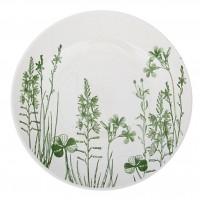 Тарелка мелкая Кубаньфарфор 22 см Соната Гербарий. Травы, рисунок Зеленый 10шт/в уп