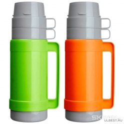 Термос в пластик корп, объем -1 л, стекл колба с 2-ми стенками (2 чашки), серия CALOROSO, тм Mallony