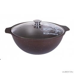 Казан для плова Kukmara 4,5л с антипригарным покрытием (кофейный мрамор) со стеклянной крышкой кмк47а