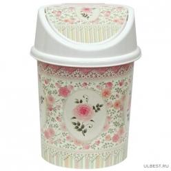 Ведро с подвижной крышкой 4л. с декором Чайная роза (бел) 040465 Виолет