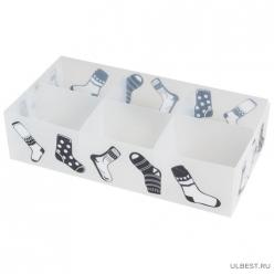 Коробка для белья PSB-02/6-P, 6 ячеек, пластик, с принтом, 30*15*7см арт.312551