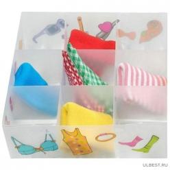 Коробка для белья PSB-03/9-P, 9 ячеек, пластик, с принтом, 30*30*10см арт.312552