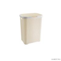 Корзина плетенная для белья с крышкой (код 2100) кремовый
