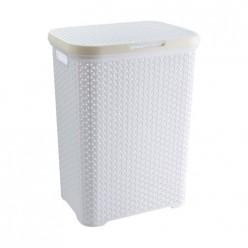 Корзина плетенная для белья с крышкой (код 2102) белый